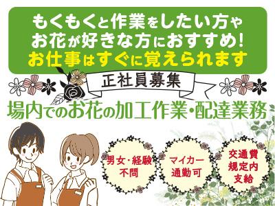 <場内でのお花の加工作業・配達業務(正社員募集)>もくもくと作業をしたい方やお花が好きな方におすすめ! お仕事はすぐに覚えられます
